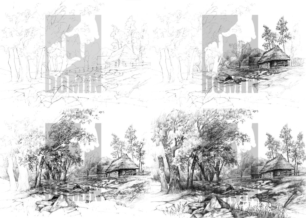 kurs rysunku hobby olowek krajobraz