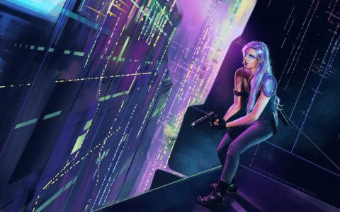 postać science-fiction, miasto nocą digital painting, game design, concept art, rysunek wysokich wieżowców, wykorzystanie perspektywy w rysunku na tablecie