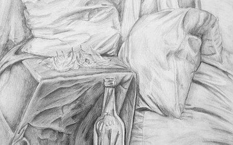 sztuka rysowania materiałów ołówkiem, rysunek pościeli ołówkiem, martwa natura ołówkiem, kurs asp kraków,
