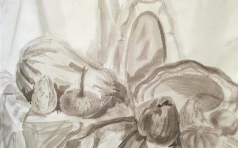 sztuka rysowania tuszem, martwa natura asp, przygotowanie portfolio na asp, szybki szkic martwej natury