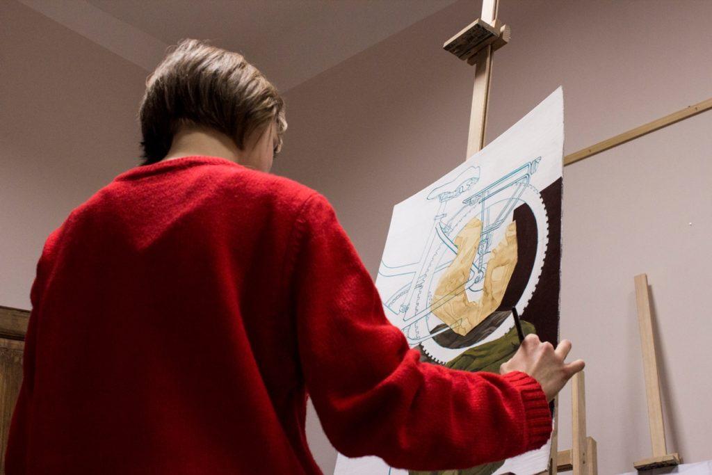 martwa natura asp, kurs malarstwa w krakowie, kurs asp kraków, jak przygotować się do egzaminów na asp, obraz roweru farbami