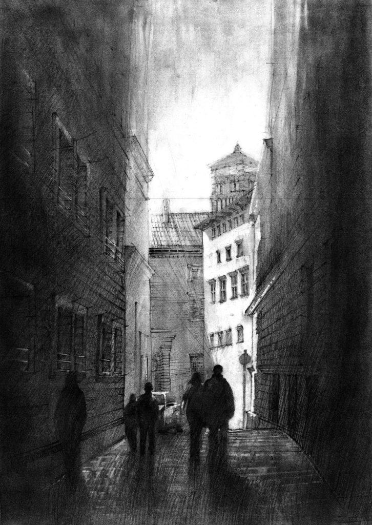 schodząca w dół wąska uliczka na rysunku, piesza uliczka metodą rozcierania grafitu, wrażeniowe rysunki