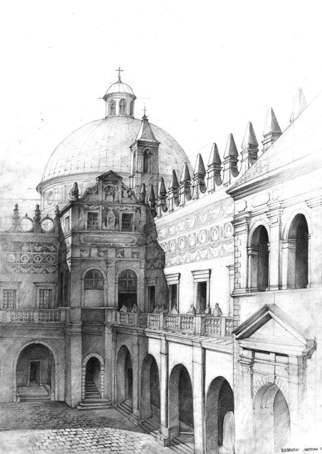 wewnętrzny dziedziniec muzealny z podcieniami arkadowymi, rysunek z perspektywy na dziedziniec, jak narysować kopułę