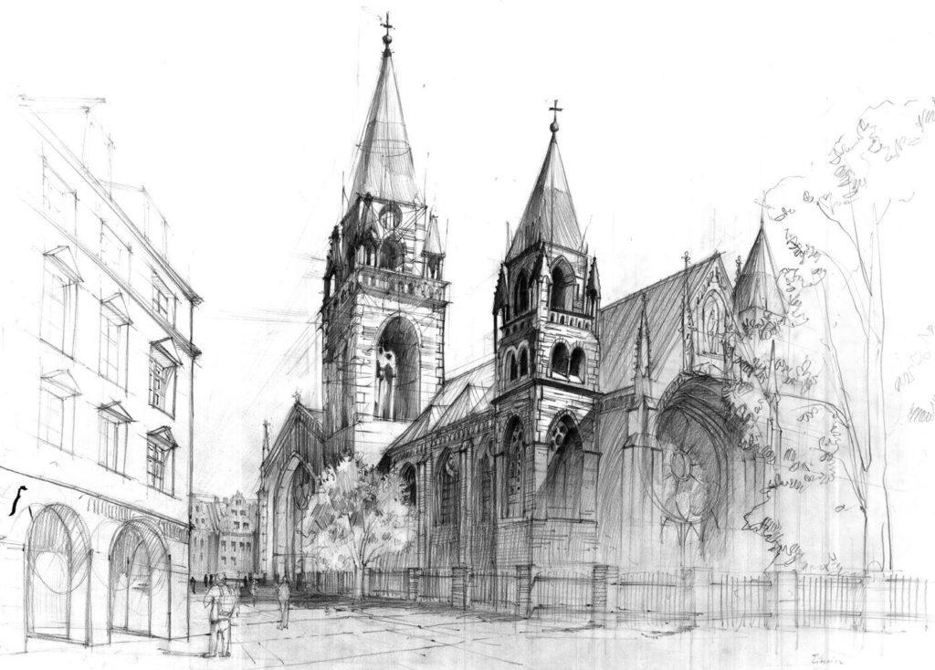 rysunek kościoła ołówkiem, czym jest dominanta na rysunki, wieże kościelne, kamienica z podcieniami arkadowymi