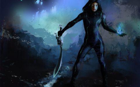 mroczny koncept postaci kobiecej, groźna kobieta rysunek na tablecie, science fiction, game design, kobieta z ostrzem
