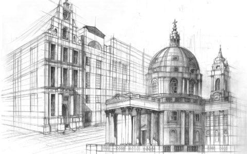 plansza architektoniczna, rysunek architektury historycznej, jak narysować kopułę, rysunek kościoła ołówkiem