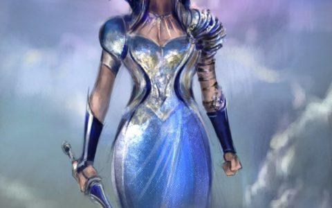 koncept silnej kobiety, kobieta w koronie, kobieta w chmurach, królowa z mieczem, niebieska sukienka, pomysł na cosplay, kurs digital painitng kraków