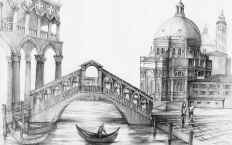 rysunek architektury historycznej ołówkiem, kurs rysunku architektonicznego w krakowie, jak wycieniować wodę ołówkiem, rysunek kościoła, rysunek mostu, podcienie arkadowe ołówkiem