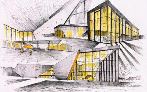 plansza architektury współczesnej, muzeum lotnictwa w krakowie rysunek, muzeum lotnictwa projekt