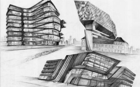 architektura współczesna, plansza architektury nowoczesnej, nowoczesne szklane budynki, kursy rysunku architektonicznego w krakowie