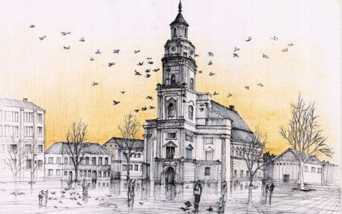 rysunek kościoła cienkopisem i kredką, rysunek placu z kościołem, kurs rysunku architektury historycznej w krakowie