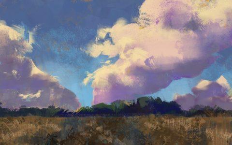 nauka digital paintingu, szybki szkic krajobrazu w photoshopie, kurs rysowania na tablecie w krakowie