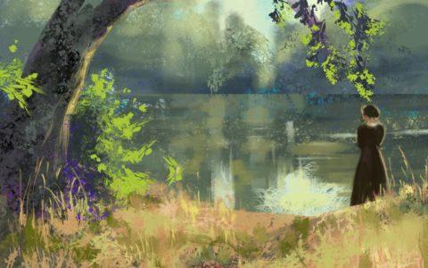 krajobraz nad jeziorem, malowanie widoków leśnych w photoshopie, kurs malowania na tablecie w krakowie, najlepszy kurs digital painting