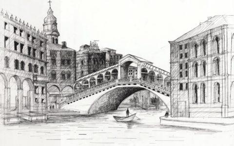 rysunek architektury historycznej cienkopisem, rysunek mostu, stare miasto na rysunku,