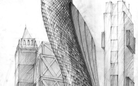 architektura współczesna, rysunek nowoczesnego miasta, projekt wieżowca, rysunek szkła ołówkiem