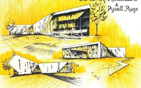 muzeum lotnictwa w krakowie, plansza architektury nowoczesnej, rysunek markerami, jak narysować szkło markerem