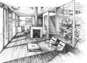 projekt wnętrza domu, oszklone wnętrze rysunek, kurs rysunku kraków, rysunek architektury nowoczesnej