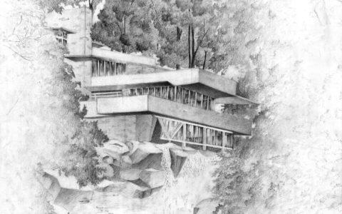 projekt willi w krajobrazie górskim, nowoczesny dom nad wodospadem, dom w górach, rysunek domu w lesie nad wodospadem, nowoczesny projekt domu