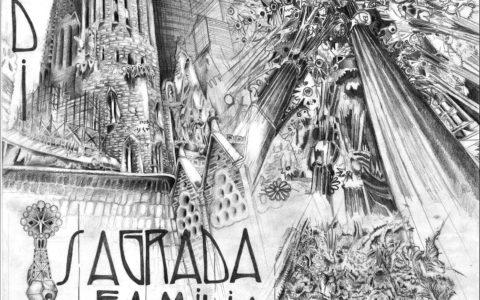 plansza architektoniczna sagrada familia, kurs rysunku w krakowie, rysunek architektury historycznej