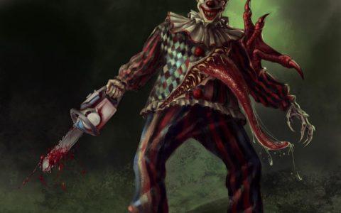 mroczny klaun digital painitng, concept potwora klauna, art concept, game design, ilustracja komputerowa do filmu to