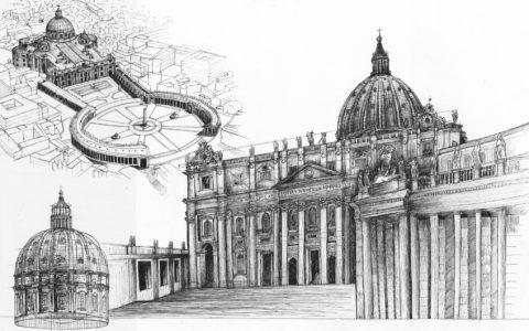 plansza architektury historycznej, kurs rysunku kraków, rysunek cienkopisem, bazylika św piotra w rzymie rysunek