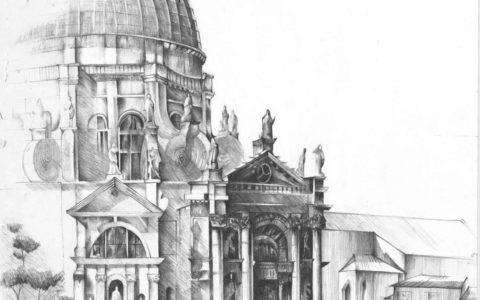 rysybek kościoła ołówkiem, kościół nad wodą, rysunek kościoła weneckiego, rysunek gondoli,