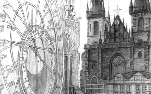 rysunek Pragi ołówkiem, rysunek zegara w pradze, kościotrup na rysunku, kościół najświętszej marii panny w pradze