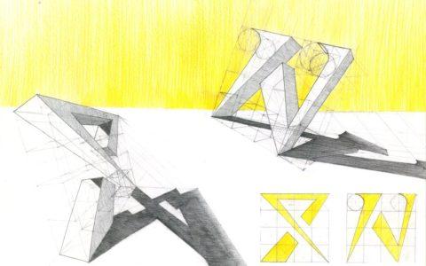 litery wycięte z formy, rysunek geometryczny, rysunek techniczny w krakowie, zastosowanie światłocienia na rysunku
