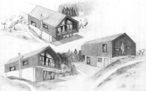 plansza architektury nowoczesnej, projekt domu nowoczesnego w górach, kurs rysunku w krakowie, kurs na architekturę