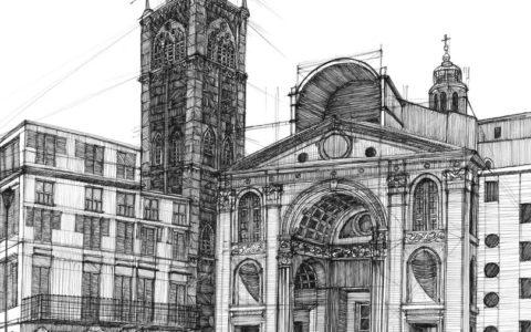 plac historyczny, rysunek cienkopisem, kurs rysunku w krakowie