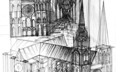 gotycka plansza architektoniczna, rysunek cienkopisem, przygotowanie do egzaminów wstępnych na studia architektoniczne