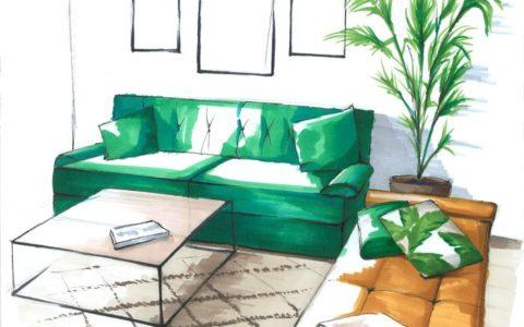 rysunek wnętrza markerami, wnętrze nowoczesnego salonu na rysunku, szkic koncepcyjny markerami