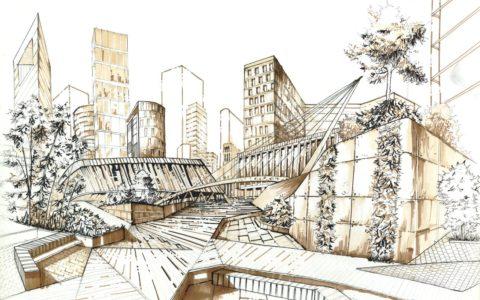 miasto nowoczesne, rysunek markerami i cienkopisem, nowoczesne budynki, jak dostać się na architekturę