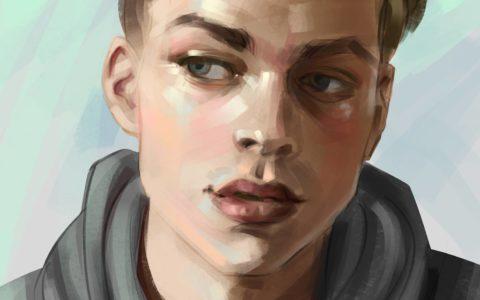 portret męski digital painting, jak narysować twarz na tablecie, malowanie w photoshopie, kurs digital painitng kraków
