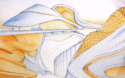 nowoczesna plansza architektoniczna, rysunek koncepcyjny, projektowanie budynków, szkice architektoniczne
