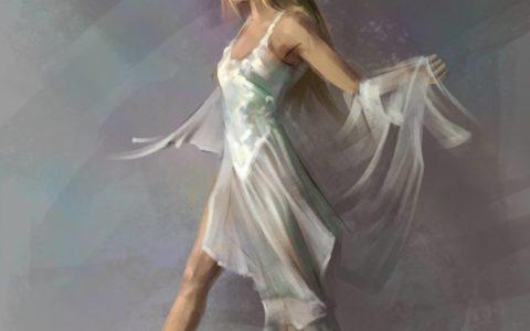 concept postaci, rysunek postaci digital painitng, projektowanie graficzne, ilustracja komputerowa, kobieta w zwiewnej sukience