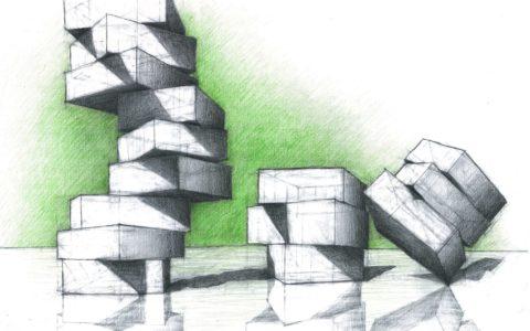 rysunek geometryczny, rysunek perspektywiczny, bryły i odbicia, rysunek architektoniczny w krakowie, rysunek techniczny