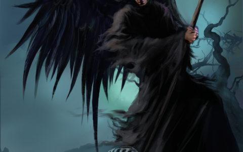 mroczny digital painting, koncept mroczny żniwiarz, skrzydlaty człowiek z kosą, przedstawienie śmierci na obrazie