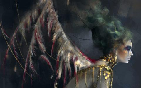 upadły anioł concept art, digital painitng, malowanie w photoshopie