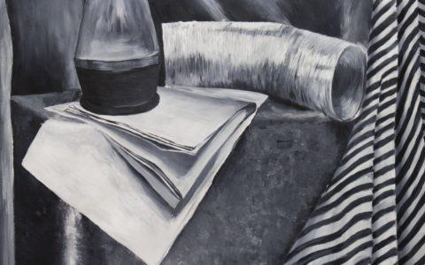 martwa natura czarno biala akryl