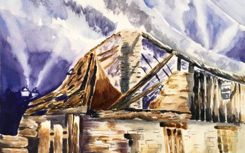 obraz chatki w górach, kurs malarstwa od podstaw, kursy akwareli dla dorosłych
