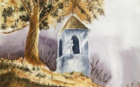 kapliczka akwarelą, kurs akwareli w krakowie, akwarela od podstaw