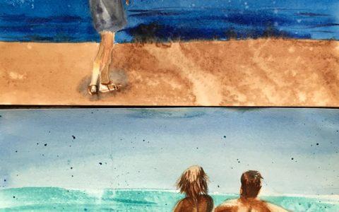 pocztówki z wakacji akwarelami, kreatywne pamiątki z wakacji, oryginalne widokówki, obrazy akwarelowe, wakacyjny kurs akwareli