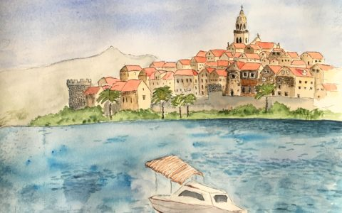 Miasto historyczne akwarelami, statek na obrazie, widok na wyspę malowany akwarelami
