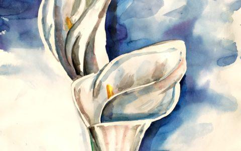 obraz kwiat akwarelą, malowanie roślinności akwarelą, studium zieleni akwarelą, kurs malarstwa akwarelowego w krakowie