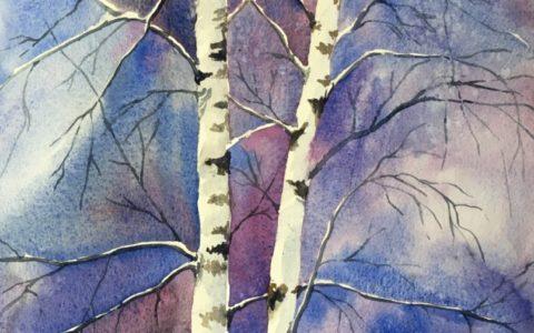 obraz drzewo akwarelą, kurs akwareli w krakowie, kurs malarstwa