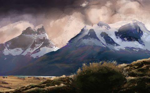 digital art pejzaż krajobraz, krajobraz górski namalowany w photoshopie, kurs malowania na tablecie