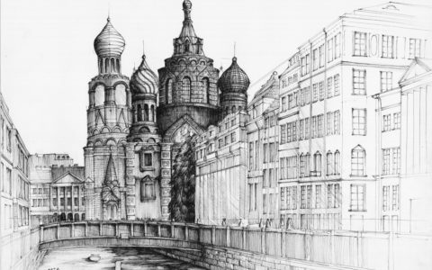 st petersburg rysunek cienkopisem, miasto historyczne na rysunku, kurs architektury w krakowie