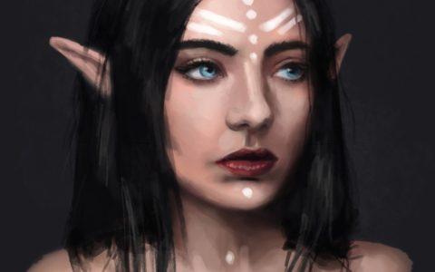 projekt postaci fantastycznej elf, concept art, game design, projektowanie postaci do gier,