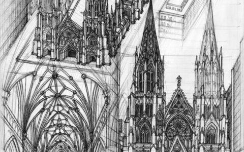plansza gotycka cienkopisem, kościół gotycki, style architektoniczne, różne techniki rysunkowe,